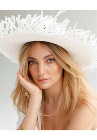 LESHKA - Biały kapelusz Vacation Mood. Kolor: biały. Wzór: aplikacja