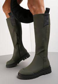 Renee - Oliwkowe Kozaki Mikandras. Okazja: na co dzień. Wysokość cholewki: przed kolano. Nosek buta: okrągły. Zapięcie: zamek. Kolor: zielony. Szerokość cholewki: normalna. Wzór: aplikacja. Styl: klasyczny, casual