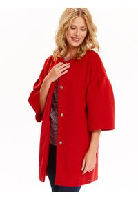 TOP SECRET - Płaszcz damski zapinany z modnym dzwonkowym rękawem. Okazja: na co dzień. Kolor: czerwony. Długość rękawa: krótki rękaw. Sezon: jesień, zima. Styl: elegancki, casual
