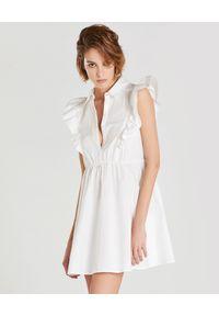 Biała sukienka mini Patrizia Pepe wakacyjna, na lato