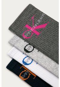 Białe skarpetki Calvin Klein Jeans z nadrukiem