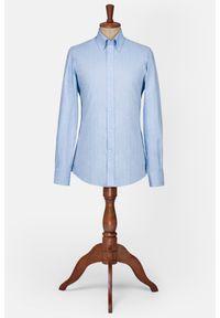 Lancerto - Koszula Niebieska w Jodełkę Gobi. Typ kołnierza: button down. Kolor: niebieski. Materiał: bawełna, tkanina. Wzór: jodełka. Styl: vintage, elegancki