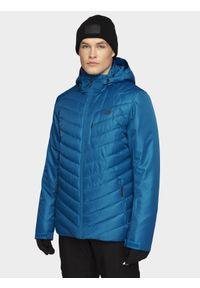 4f - Kurtka narciarska męska. Typ kołnierza: kaptur. Kolor: niebieski. Materiał: materiał, poliester. Sezon: zima. Sport: narciarstwo