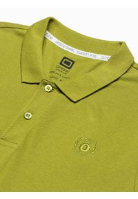 Ombre Clothing - Koszulka męska polo klasyczna bawełniana S1374 - zielona - XXL. Typ kołnierza: polo. Kolor: zielony. Materiał: bawełna. Wzór: haft. Styl: klasyczny