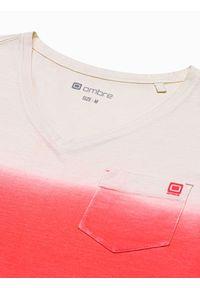 Ombre Clothing - T-shirt męski bawełniany S1380 - czerwony - XXL. Kolor: czerwony. Materiał: bawełna. Sezon: lato