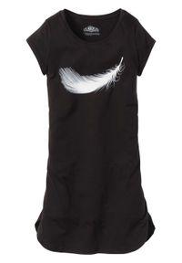 Koszula nocna, bawełna organiczna bonprix czarny z nadrukiem