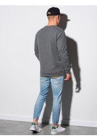 Ombre Clothing - Bluza męska bez kaptura B1149 - czarna - XXL. Typ kołnierza: bez kaptura. Kolor: czarny. Materiał: poliester, jeans, materiał, bawełna. Wzór: melanż