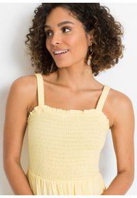 Sukienka z przeszyciem cienkimi gumkami bonprix żółty. Kolor: żółty