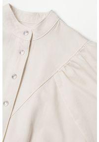 mango - Mango - Sukienka jeansowa LOLITA. Kolor: beżowy. Materiał: jeans. Długość rękawa: krótki rękaw. Wzór: gładki. Typ sukienki: dopasowane
