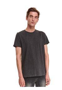 TOP SECRET - T-shirt krótki rękaw męski gładki. Kolor: szary. Długość rękawa: krótki rękaw. Długość: krótkie. Wzór: gładki
