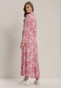 Renee - Ciemnoróżowa Sukienka Silelphise. Kolor: różowy. Materiał: materiał. Długość rękawa: długi rękaw. Typ sukienki: koszulowe. Długość: maxi #4