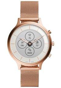 Fossil smartwatch Hybrid HR Charter Rose Gold-Tone Stainless Steel Mesh. Rodzaj zegarka: smartwatch. Kolor: różowy. Materiał: mesh