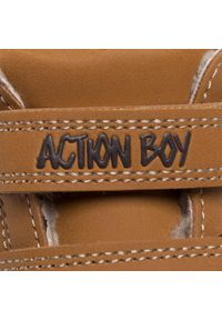 Brązowe buty zimowe Action Boy z cholewką