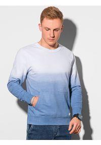 Ombre Clothing - Bluza męska bez kaptura B1150 - błękitna - XXL. Typ kołnierza: bez kaptura. Kolor: niebieski. Materiał: bawełna. Wzór: gradientowy. Sezon: lato