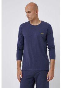 BOSS - Boss - Longsleeve. Kolor: niebieski. Materiał: bawełna. Długość rękawa: długi rękaw. Wzór: aplikacja