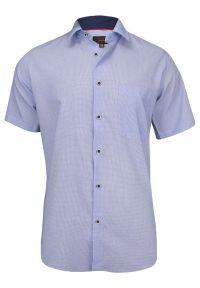 Niebieska elegancka koszula Jurel krótka, z krótkim rękawem