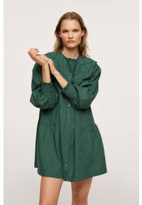mango - Mango - Sukienka bawełniana Heydi. Okazja: na co dzień. Kolor: zielony. Materiał: bawełna. Długość rękawa: długi rękaw. Typ sukienki: proste. Styl: casual