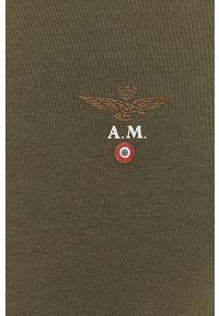 Aeronautica Militare - T-shirt. Okazja: na co dzień. Kolor: zielony. Materiał: dzianina. Wzór: gładki. Styl: casual