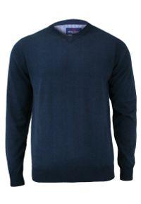 Niebieski sweter Adriano Guinari z dekoltem w serek, biznesowy, do pracy