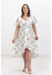Sukienka Moda Size Plus Iwanek z dekoltem w serek, na wiosnę, casualowa, oversize