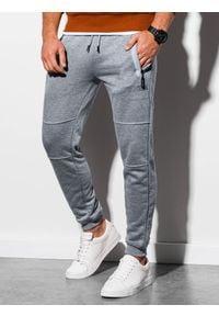 Ombre Clothing - Spodnie męskie dresowe joggery P902 - szary melanż - XXL. Kolor: szary. Materiał: dresówka. Wzór: melanż. Styl: sportowy