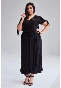 Czarna sukienka Moda Size Plus Iwanek plus size, na wiosnę, na sylwestra, elegancka