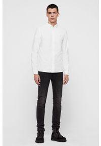 Biała koszula AllSaints z klasycznym kołnierzykiem, długa, elegancka