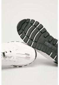 Białe buty sportowe DKNY z okrągłym noskiem, na sznurówki