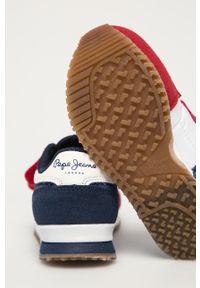 Czerwone buty sportowe Pepe Jeans na rzepy, z cholewką, z okrągłym noskiem #4