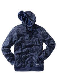 Bluza z kapturem bonprix ciemnoniebieski melanż. Typ kołnierza: kaptur. Kolor: niebieski. Wzór: melanż. Styl: sportowy
