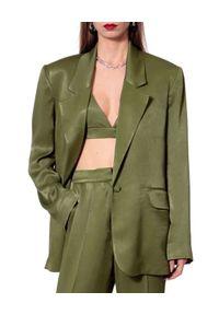 AGGI - Zielona marynarka Bellamy. Kolor: zielony. Materiał: tkanina, jedwab. Długość: długie