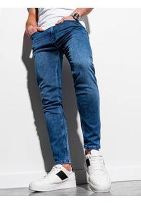 Ombre Clothing - Spodnie męskie jeansowe P1007 - niebieskie - XXL. Kolor: niebieski. Materiał: jeans. Styl: klasyczny