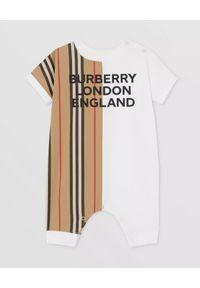 BURBERRY CHILDREN - Bawełniane śpioszki z logo 0-2 lat. Kolor: biały. Materiał: bawełna