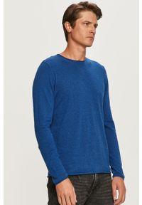 Niebieski sweter Selected z okrągłym kołnierzem, casualowy
