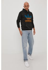 adidas Originals - Bluza bawełniana. Okazja: na co dzień. Kolor: czarny. Materiał: bawełna. Wzór: nadruk. Styl: casual