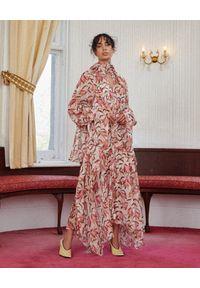 ACLER - Wzorzysta sukienka Cathedral. Kolor: beżowy. Materiał: materiał. Długość rękawa: na ramiączkach. Wzór: nadruk. Typ sukienki: asymetryczne, rozkloszowane. Długość: midi