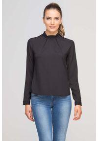 Czarna bluzka z długim rękawem Lanti ze stójką