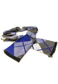 Modini - Szaro-niebieski szalik męski w kratę R31. Kolor: niebieski, wielokolorowy, szary. Materiał: wiskoza
