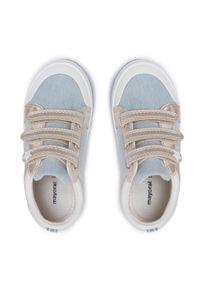 Mayoral - Trampki MAYORAL - 43249 Jeans 72. Okazja: na spacer. Zapięcie: rzepy. Kolor: niebieski. Materiał: materiał. Szerokość cholewki: normalna. Wzór: aplikacja