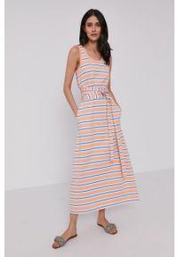 Lacoste - Sukienka. Kolor: pomarańczowy. Materiał: dzianina. Typ sukienki: rozkloszowane