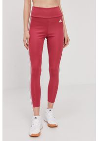 Adidas - Legginsy. Stan: podwyższony. Kolor: różowy. Materiał: dzianina, materiał. Wzór: gładki