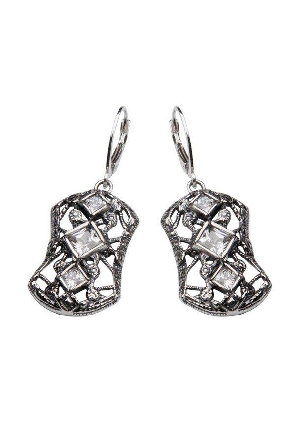Polcarat Design - Kolczyki srebro cyrkonia K 1511. Materiał: srebrne. Wzór: aplikacja. Kamień szlachetny: cyrkonia