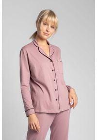 MOE - Bawełniana Koszula od Piżamy z Wypustkami - Wrzosowa. Kolor: fioletowy. Materiał: bawełna