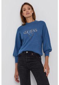 Guess - Sweter. Kolor: niebieski. Materiał: dzianina. Długość rękawa: długi rękaw. Długość: długie. Wzór: aplikacja