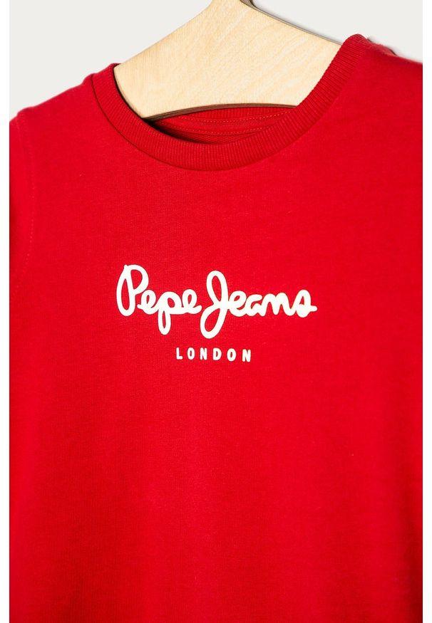 Czerwona bluza Pepe Jeans z okrągłym kołnierzem, casualowa, z nadrukiem
