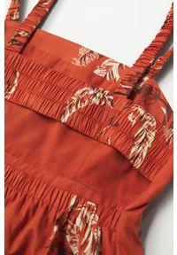 mango - Mango - Sukienka bawełniana Fun. Kolor: czerwony. Materiał: bawełna. Długość rękawa: na ramiączkach. Typ sukienki: rozkloszowane