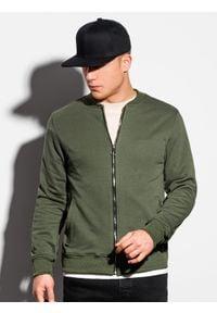 Ombre Clothing - Bluza męska rozpinana bez kaptura B1077 - khaki - XXL. Typ kołnierza: bez kaptura. Kolor: brązowy. Materiał: bawełna, poliester. Styl: sportowy