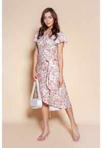 Lanti - Kopertowa Sukienka z Asymetrycznym Dołem - Wzór. Materiał: poliester. Wzór: kwiaty. Typ sukienki: asymetryczne, kopertowe
