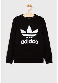 Czarna bluza adidas Originals casualowa, z nadrukiem, bez kaptura