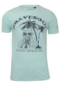 Zielony t-shirt Brave Soul z nadrukiem, casualowy, na co dzień